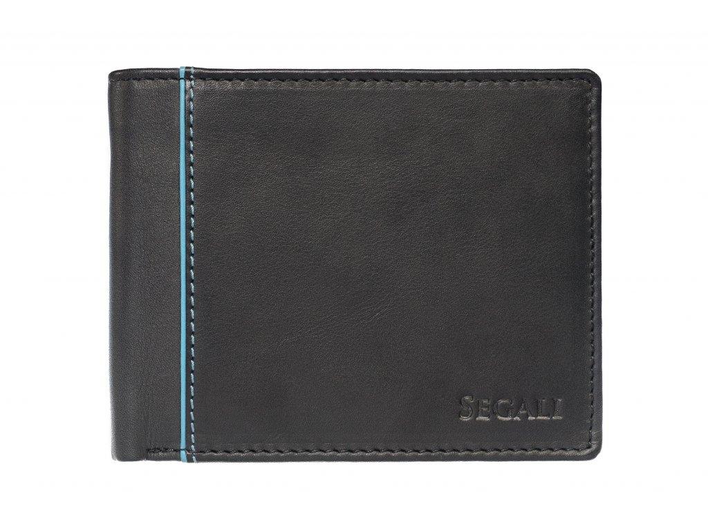 Pánská kožená peněženka Segali 2736 černá s tyrkysovou