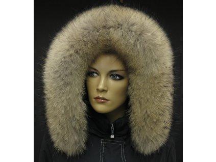 Kožešina lem / límec na kapuci z mývalovce 3091 NATUR