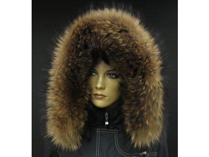 Kožešina lem / límec na kapuci z mývalovce 3092 NATUR