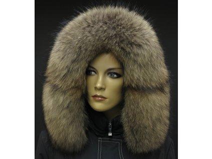 Kožešina lem / límec na kapuci z mývalovce 3093 NATUR
