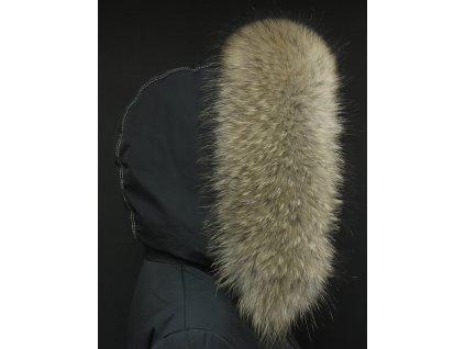Kožešina lem / límec na kapuci z mývalovce 3096 NATUR