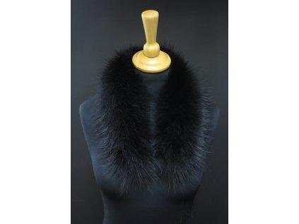 Kožešinový lem / límec na kapuci z finského mývalovce - 2089 BLACK 60 cm KRÁTKÝ