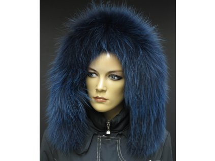 Kožešinový lem na kapuci z finského mývalovce 1056 BLUE 2. JAKOST