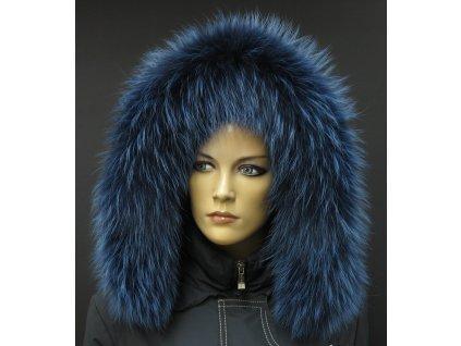 Kožešinový lem / límec na kapuci z finského mývalovce - 9041 modrá melír 2. JAKOST