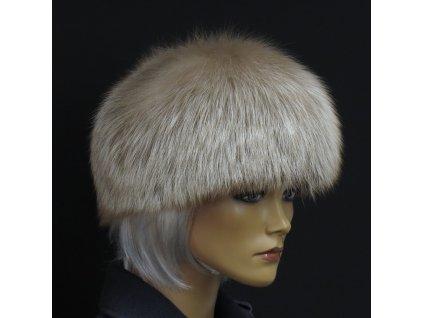 Kožešinová čepice z pastelové lišky - kulatá