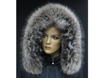 """Kožešina na kapuci z finského mývalovce č. 601 """"vlčí"""" natur"""