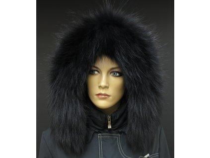 Kožešinový lem / límec na kapuci z finského mývalovce - 2092 BLACK