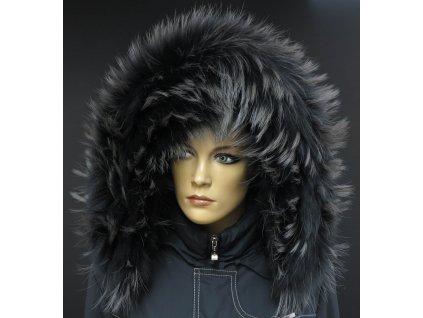 Kožešinový lem / límec na kapuci z finského mývalovce - 2002 havraní černá