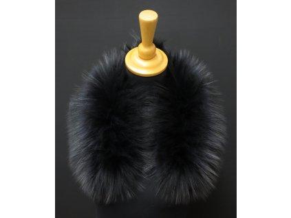 Kožešinový lem / límec na kapuci z finského mývalovce - 2006 havraní černá 60 CM KRÁTKÝ