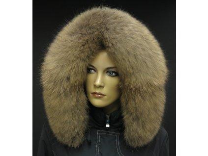 Kožešina lem / límec na kapuci z mývalovce 3098 NATUR