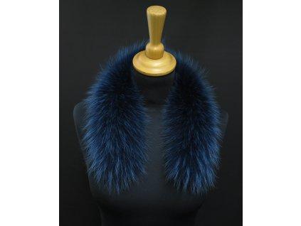 Krátká kožešina lem / límec na kapuci z finského mývalovce 10016 BLUE 50 CM KRÁTKÁ