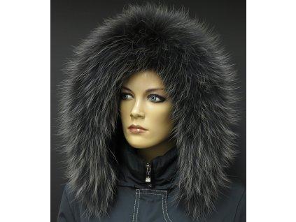 Kožešinový lem na kapuci z mývalovce - 9067 BLACK OLIVA