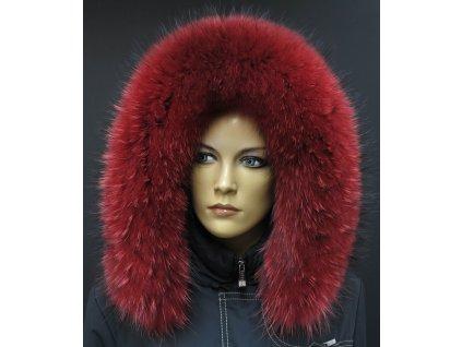 Kožešina lem / límec na kapuci z finského mývalovce 10026 RED