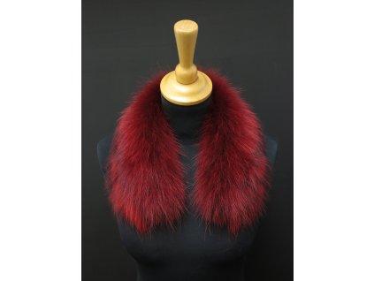 Kožešina lem / límec na kapuci z finského mývalovce 10027 RED 50 cm KRÁTKÝ 2. JAKOST