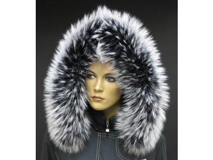 Kožešinový lem límec na kapuci z finského mývalovce 10031 BLACK & WHITE