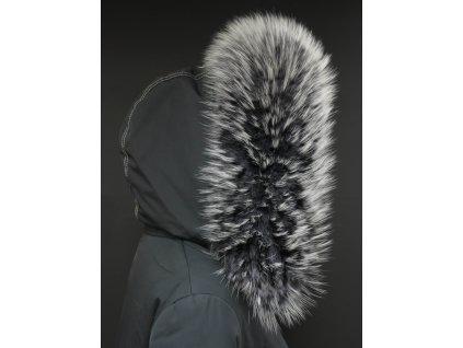 Kožešinový lem límec na kapuci z finského mývalovce 10032 BLACK & WHITE