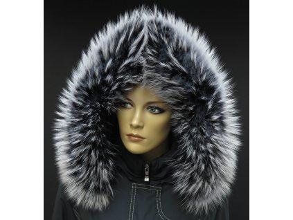 Kožešinový lem límec na kapuci z finského mývalovce 10033 BLACK & WHITE