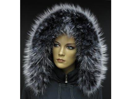 Kožešinový lem límec na kapuci z finského mývalovce 10034 BLACK & WHITE