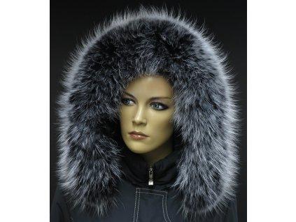 Kožešinový lem límec na kapuci z finského mývalovce 10035 BLACK & WHITE