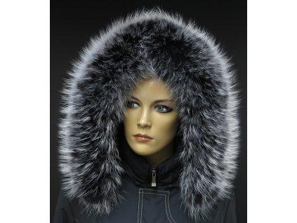 Kožešinový lem límec na kapuci z finského mývalovce 10036 BLACK & WHITE
