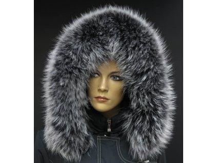Kožešinový lem límec na kapuci z finského mývalovce 10037 BLACK & WHITE