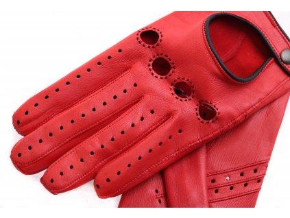 Dámské kožené řidičské rukavice 3428 červené/černé