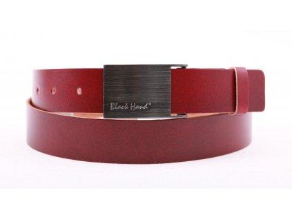 Pánský kožený opasek Black Hand 065-53 vínově červený