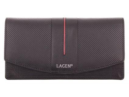 Dámská  kožená peněženka Lagen 4153 Black Red
