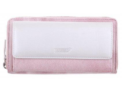 Dámská  kožená peněženka Lagen 786017 starorůžová + perleť