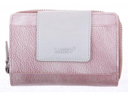Dámská  kožená peněženka Lagen 931 starorůžová + perleť