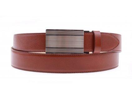 Pánský kožený opasek Penny Belts 3557 s plnou sponou AUTOMAT hnědý (Velikost opasku = obvod vašeho pasu (cm) 85 cm)