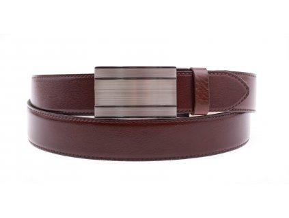 Pánský kožený opasek Penny Belts 3558 s plnou sponou AUTOMAT tmavě hnědý