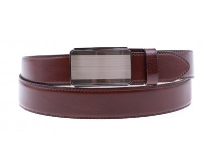 Pánský kožený opasek Penny Belts 3559 s plnou sponou AUTOMAT tmavě hnědý