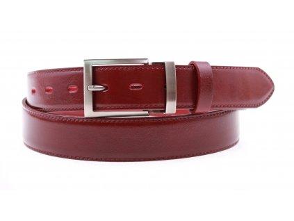 Pánský kožený opasek Penny Belts 3560 společenský vínově červený