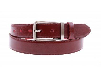 Pánský kožený opasek Penny Belts 3562 společenský vínově červený