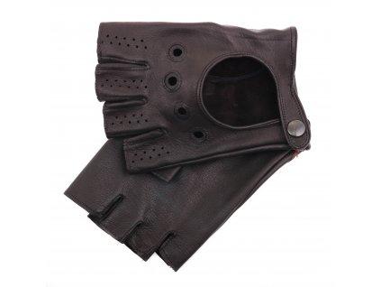 Pánské kožené autorukavice 1448BP bezprsté černé