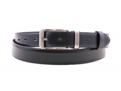 Pánský společenský kožený opasek Penny Belts 306 černý s plnou sponou