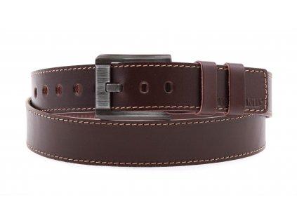 Pánský kožený opasek Black Hand 120-78 středně hnědý s kontrastním štepováním (Velikost opasku = obvod vašeho pasu (cm) 95 cm)