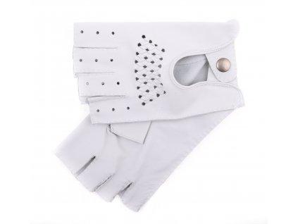Pánské luxusní kožené řidičské rukavice 1433BP bezprsté bílé s výpletem
