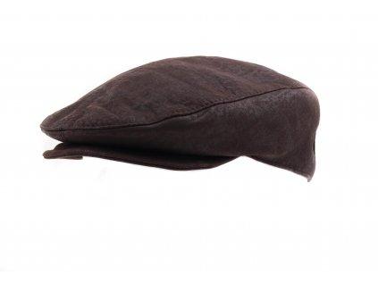 Pánská kožená čepice s kšiltem - bekovka BE14 hnědá broušená skopovice