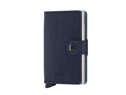 Tmavě modrá malá kožená peněženka na platební karty