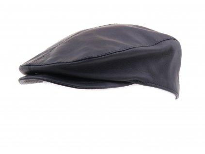Pánská kožená čepice s kšiltem - bekovka BE15 černá hladká skopovice matný vzhled povrchu