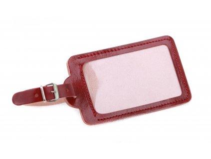 Kožená visačka na zavazadlo HAJN velká z červené hovězí kůže