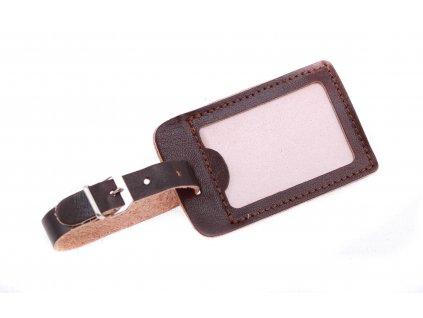 Kožená visačka na zavazadlo HAJN malá z černé hovězí kůže
