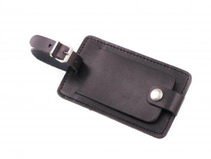 Kožená visačka na zavazadlo HAJN velká s krytkou z černé hovězí kůže