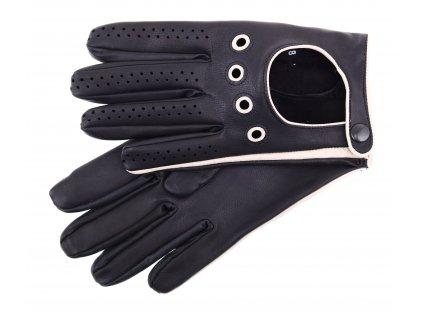 Pánské kožené řidičské rukavice 1448P černé s břízově hnědými detaily