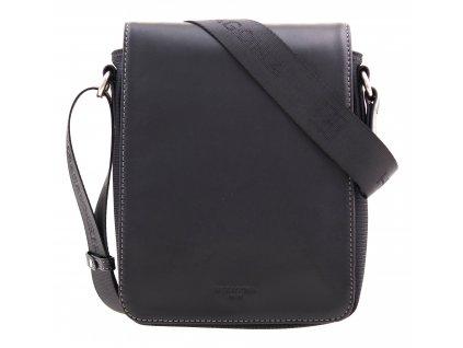 Pánská nylonová taška přes rameno Hexagona 299152 černá s koženou klopnou