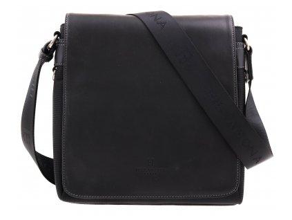 Pánská nylonová crossbody taška Hexagona 299156 černá s koženou klopnou