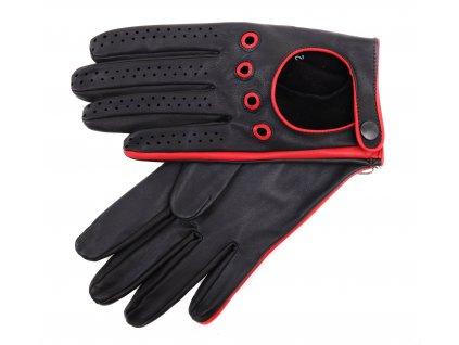 Pánské kožené řidičské rukavice 1448P černé s červenými detaily