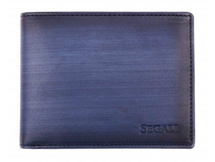Pánská kožená peněženka Segali 929204030 tmavě modrá patina